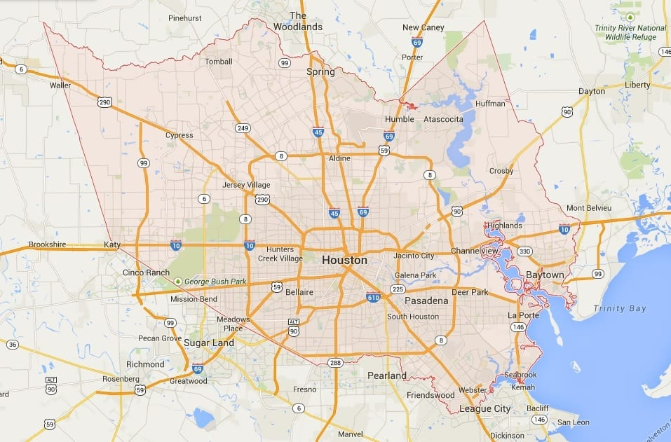 Interstate Fully Routed Through Houston Harris County Texas - Map houston harris county